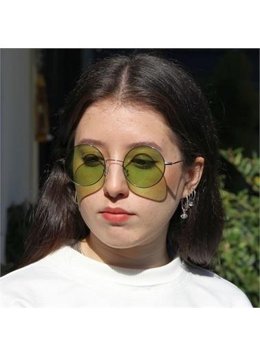 Optoline Opc 17014 03 Yuvarlak  Polarize Cam Kadın Güneş Gözlüğü Yeşil